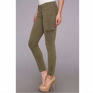 PAIGE Jeans - PAIGE | Green Ankle Moto Zipper Skinny Jeans